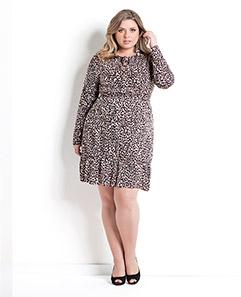 089035b42f Vestido de Manga Curta Estampa Zebra Plus Size