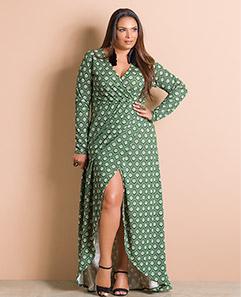 177338d193 Vestido Longo Transpassado Estampado Plus Size