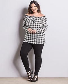 Blusa Ciganinha Xadrez e Calça Legging Plus Size