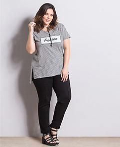 Blusa Mullet e Calça Skinny Preta Plus Size