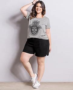 T-shirt Mescla e Short Preto Plus Size