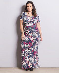 Vestido Longo Floral e Geométrico Plus Size