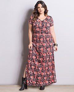 Vestido Longo Floral Plus Size