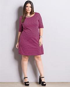Vestido Pied de Poule Pink Plus Size