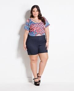 Blusa com Tiras Estampada e Shorts Azul Plus Size