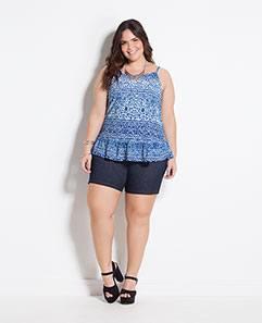 Blusa de Alças Floral e Shorts Azul Plus Size