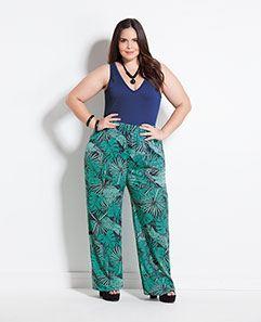 Body Marinho e Calça Pantalona Folhagem Plus Size