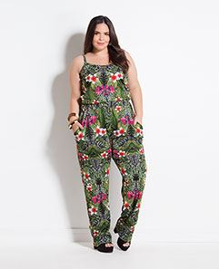 Macacão Mix Floral Plus Size