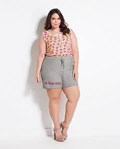 Regata Estampa de Fruta e Shorts Mescla Plus Size