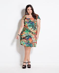 Vestido Acinturado Folhagem Plus Size