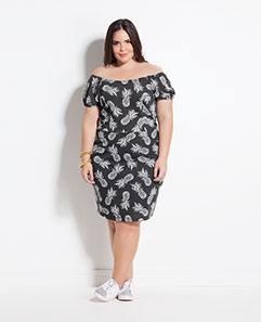 Vestido Ciganinha Estampa Abacaxi Plus Size