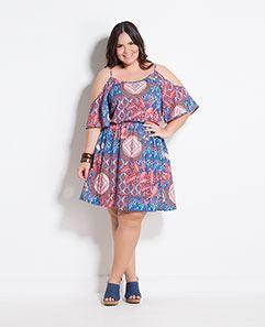Vestido Ciganinha Estampado Plus Size
