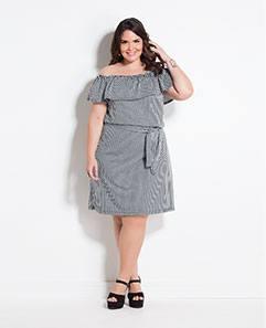 Vestido Ciganinha Listrado Plus Size