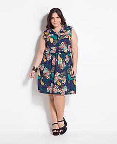 Vestido com Gola Cashmere Plus Size