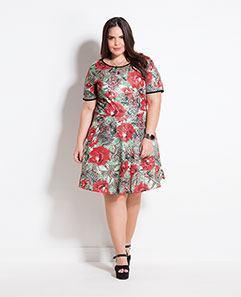 Vestido Evasê Maxi Floral Plus Size