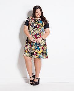 Vestido Floral e Preto Plus Size