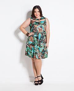Vestido Folhagem com Tule Plus Size