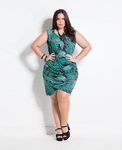 Vestido Folhagem Plus Size