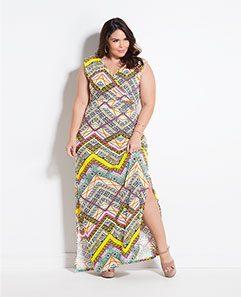 Vestido Longo Geométrico Plus Size