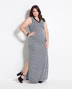 Vestido Longo Listrado Plus Size