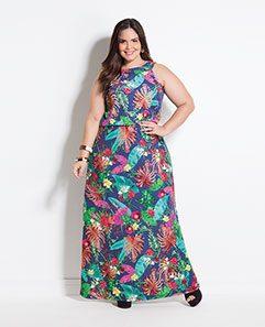 Vestido Longo Sem Mangas Tropical Plus Size
