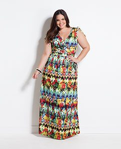 Vestido Longo Transpassado Tropical Plus Size
