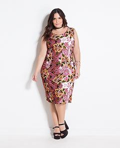 Vestido Tubinho Midi Mix Floral Plus Size