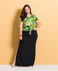 f0373b041 Blusa com Amarração e Saia Longa Preta Plus Size. Vestido ...
