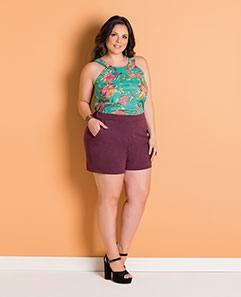 Blusa Alças Largas e Short Roxo em Moletinho Plus Size