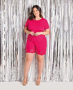 Cropped Pink e Short Pink Plus Size