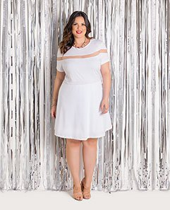 Vestido Branco com Tule Plus Size