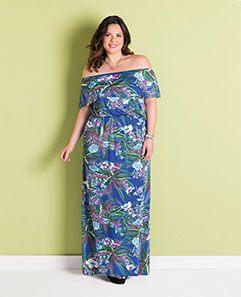 Vestido Longo Ciganinha Tropical Plus Size