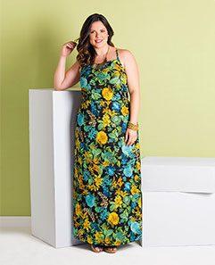 Vestido Longo de Alças Floral Escuro Plus Size