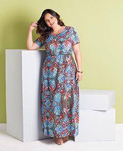 Vestido Longo Estampa Tropical Plus Size
