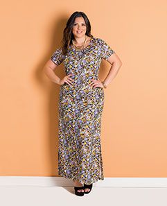 Vestido Longo Floral Mini Plus Size