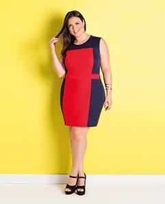 Vestido Marinho e Vermelho Plus Size