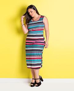 Vestido Midi Listras Coloridas Plus Size