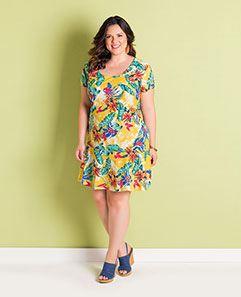 Vestido Peplum Tropical Plus Size
