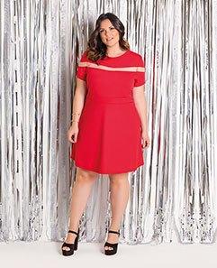Vestido Vermelho com Tule Plus Size