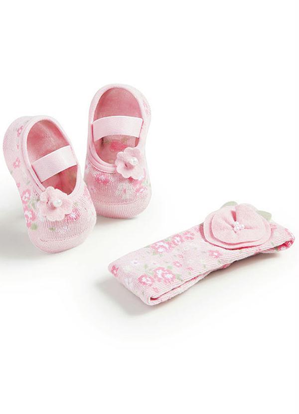 ca78b021f Kit Meia e Faixa Cabelo Bebê Menina Rosa Puket - Puket