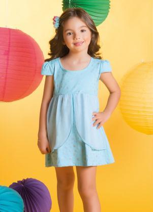 Vestido Bebê Com Sobreposição De Tule Azul