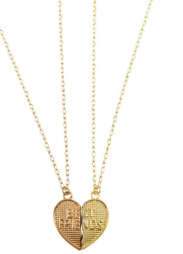 Moda Pop - Colar Dourado 2 Corações - Moda Pop 63d0f67a28