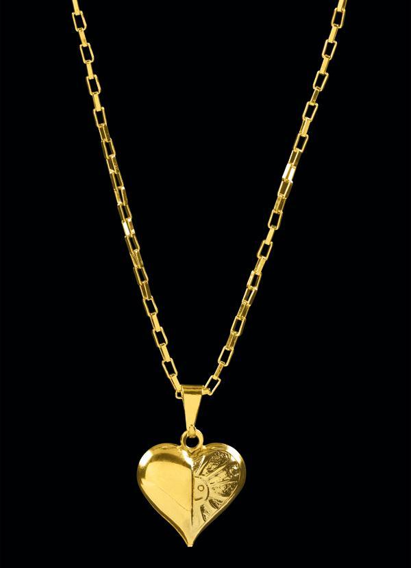Moda Pop - Colar Dourado de Coração - Moda Pop c4be7f2bc9