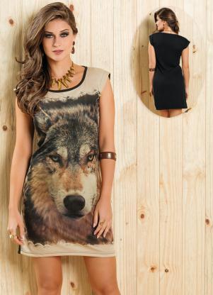 Vestido Estampa Lobo