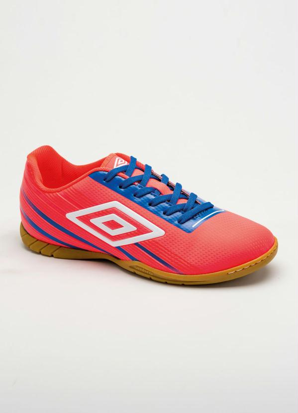 e92bacf115064 Rally - Chuteira Indoor Umbro Light Control (Coral e Azul)