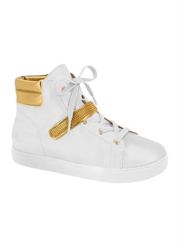 0d7c9c057 Molekinha - Tênis Infantil Branco e Dourado Molekinha - Perfecta