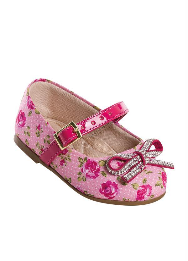 aff5ca5ac6 Perfecta - Sapato Bebê Molekinha com Laço Rosa e Floral - Perfecta