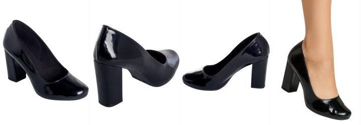 f6ba2f2ec 1.074913740158081 Sapato Envelhecido Preto de Salto Quadrado