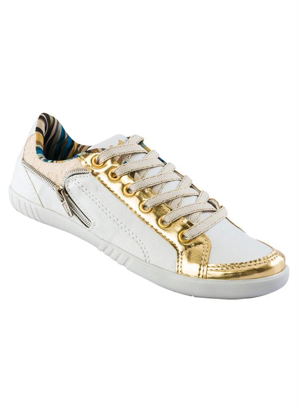 f371bf68e1 Perfecta - Tênis Feminino Branco e Dourado - Perfecta