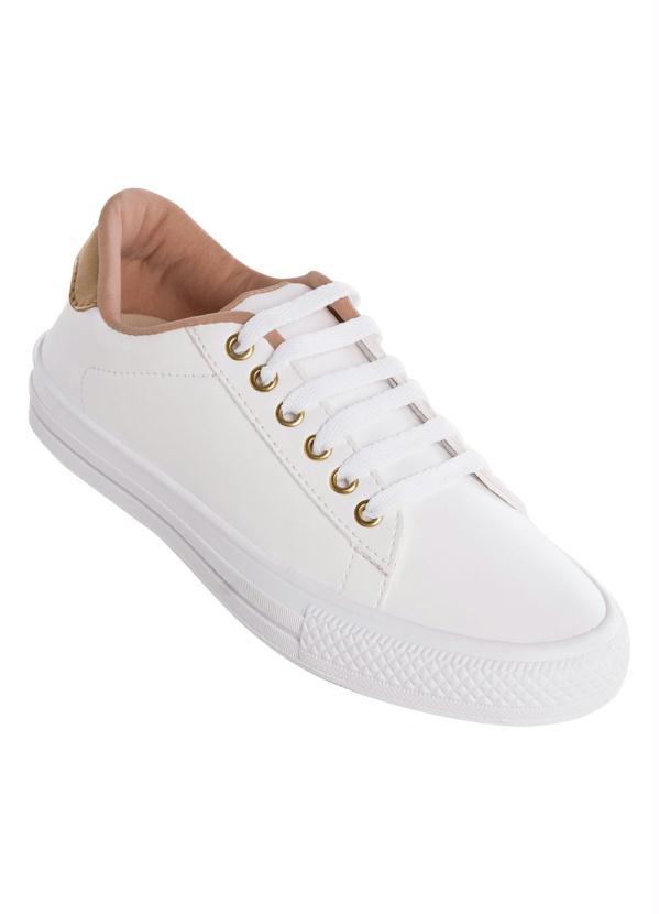 6ea9689f16 Perfecta - Tênis Branco com Detalhe Dourado - Perfecta